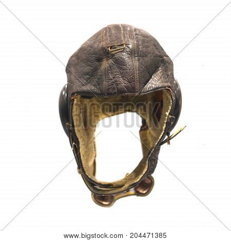 Old pilot aviator hat isolated on white background
