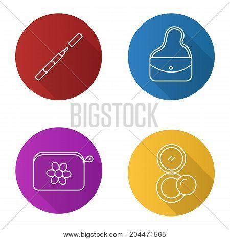 Cosmetics accessories flat linear long shadow icons set. Eyeliner, purse, cosmetic bag, rouge. Vector outline illustration