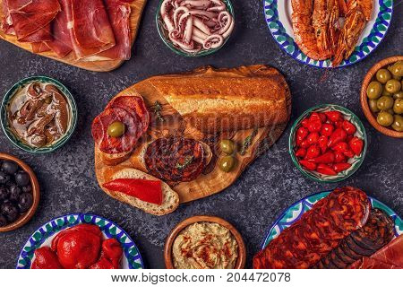 Typical Spanish Concept Of Tapas.