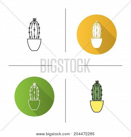 Cactus in flowerpot icon. Flat design, linear and color styles. Succulent. Isolated vector illustrations