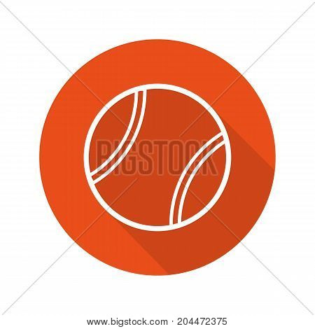 Tennis ball flat linear long shadow icon. Vector outline symbol