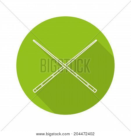Crossed billiard cues flat linear long shadow icon. Vector outline symbol
