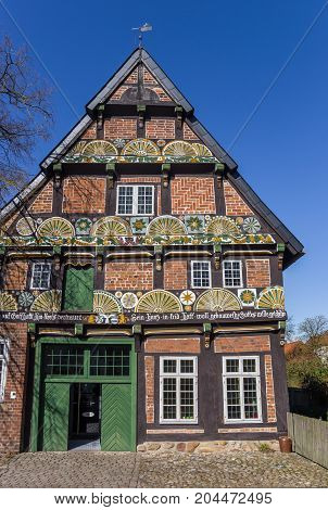 Decorated Facade Of A Half Timbered House In Verden