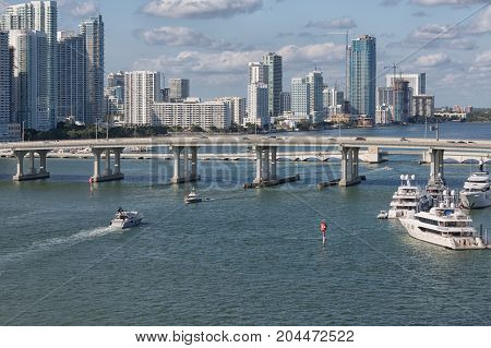 Yachts near Bridge in Biscayne Bay Miami