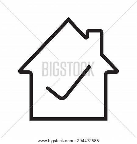 Checked, approved house linear icon. Thin line illustration. Building with check mark inside. Contour symbol. Vector isolated outline drawing