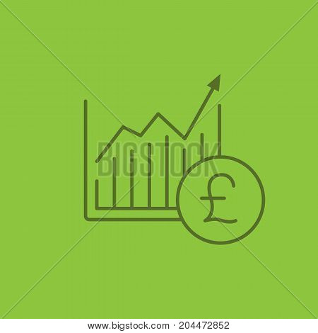 Market growth chart linear icon. Statistics diagram with pound sign. Thin line outline symbols on color background. Vector illustration
