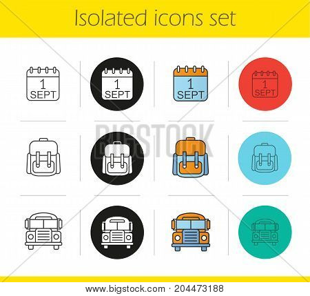 School and education icons set. Linear, black and color styles. September 1st date, school bus, student's rucksack. Isolated vector illustrations