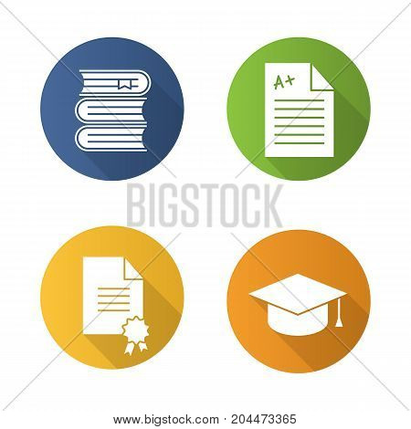 High education flat design long shadow glyph icons set. Student's graduation hat, diploma, test with excellent mark, books stack. Vector silhouette illustration
