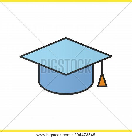 Square academic graduation cap color icon. Student's hat. Isolated vector illustration