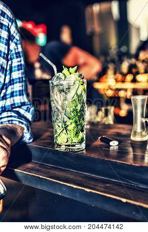 Mojito on the bar drink summer nightclub weekands