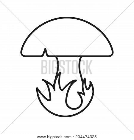 Mushroom in grass linear icon. Thin line illustration. Contour symbol. Vector isolated outline drawing