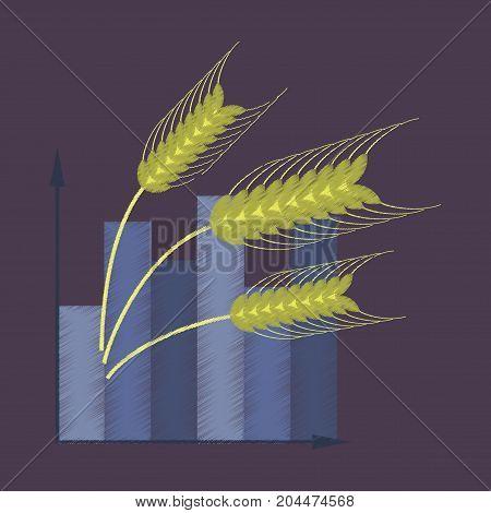 flat shading style icon Wheat infographics bakehouse