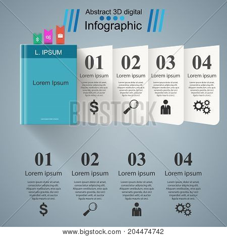 Book infographic. Five origami paper. Vector eps10