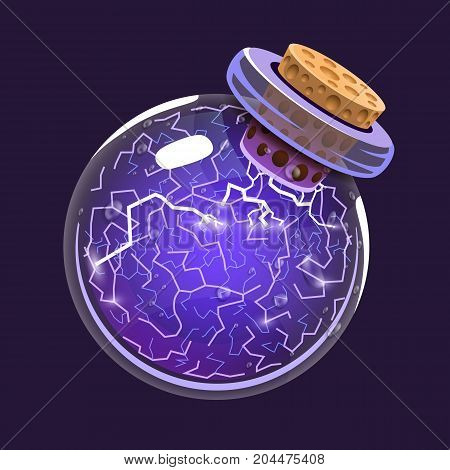 Bottle of Electricity. Game icon of magic elixir. Interface for rpg or match3 game. Energy, lightning, electric. Big variant. Vector illustration