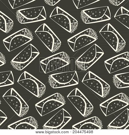 Monochrome outline cartoon burrito seamless pattern. Minimalistic flat linear mexican burritos texture for fast food restaurant or cafe menu design background wallpaper cover wrapping paper