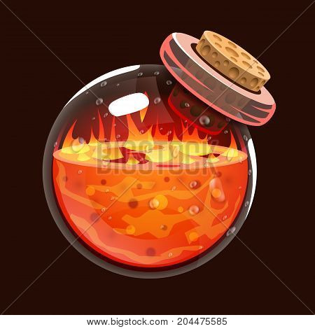 Bottle of fire. Game icon of magic elixir. Interface for rpg or match3 game. Big variant. Fire, energy, lava, flame. Vector illustration