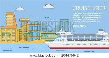 Cruise liner vector horizontal banner. Travel poster with large passenger cruise liner and place for text. Flat linear style design.