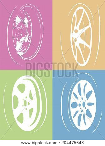 vector collection set of isolated car wheels on color backgrounds