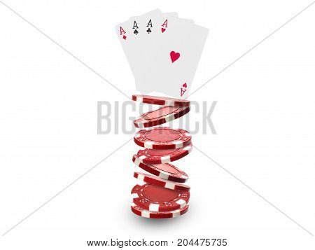 Playing Chips Flying At The White Background