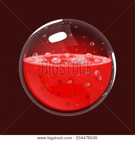 Sphere of blood. Game icon of magic orb. Interface for rpg or match3 game. Blood or life. Big variant. Vector illustration