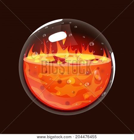 Bottle of fire. Game icon of magic orb. Interface for rpg or match3 game. Big variant. Fire, energy, lava, flame. Vector illustration