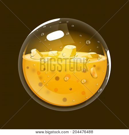 Sphere of gold. Game icon of magic orb. Interface for rpg or match3 game. Gold. Big variant. Vector illustration