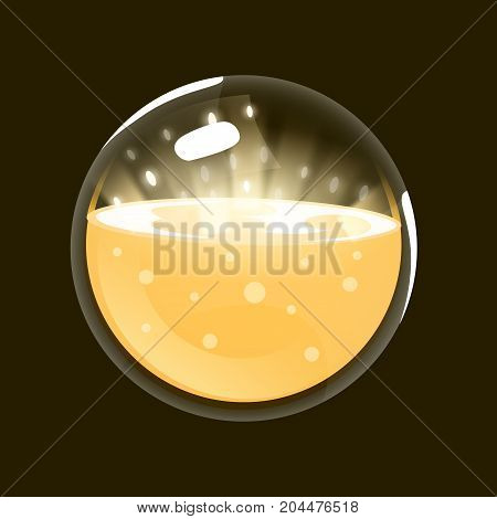 Sphere of light. Game icon of magic orb. Interface for rpg or match3 game. Sun, light, energy. Big variant. Vector illustration