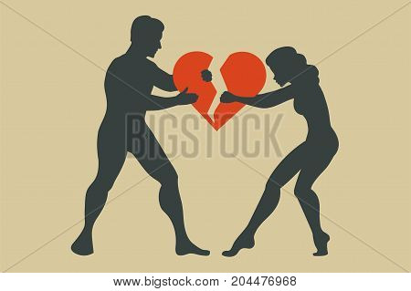 Man and woman. Silhouette of conflict between couple. Women breaks up with men