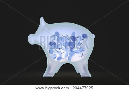a pig is illuminated with x-rays (3d rendering)