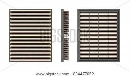 Front side and back view of a car air filter isolated on white background. 3D illustration