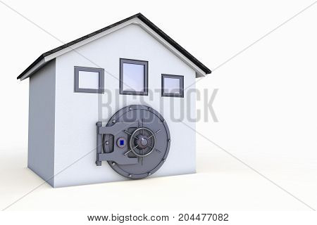 a house with a safe door (3d rendering)
