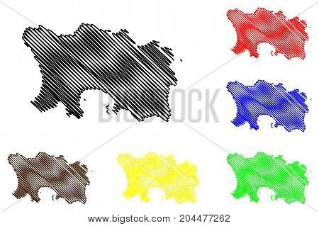 Jersey island map vector illustration , scribble sketch Jersey