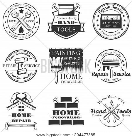 Vector set of vintage home repair, painting service, plumbing service logos, emblems, badges, labels isolated on white background. Typography design for home renovation business advertising.