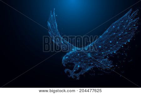 eagle fly landing from lines and rectangles point connecting network on blue background. Illustration vector