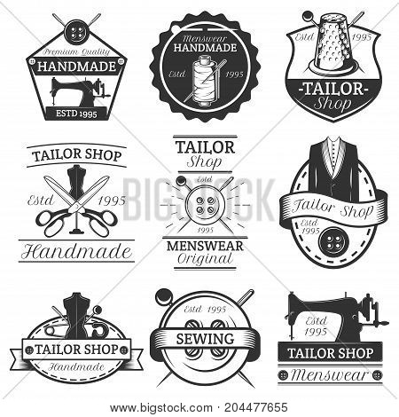 Vector set of vintage tailor logos, emblems, badges, labels isolated on white background. Typography design for sewing business advertising.