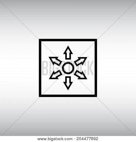 Circle and arrows flat vector icon. Circle and arrows vector sign. Distribution square button.