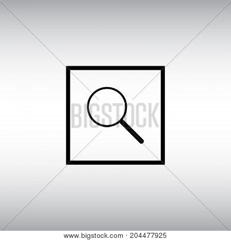 Loupe isolated vector icon. Magnify flat vector sign. Search square button.