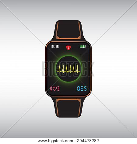 Black smart watch with pulse monitor application. Smart watch flat vector icon. Isolated smart watch vector sign.
