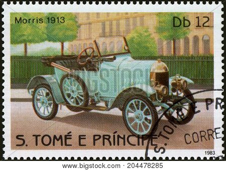 S.TOME E PRINCIPE - CIRCA 1983: Stamp printed in S.Tome e Principe shows image of the retro car Morris 1913 year of release