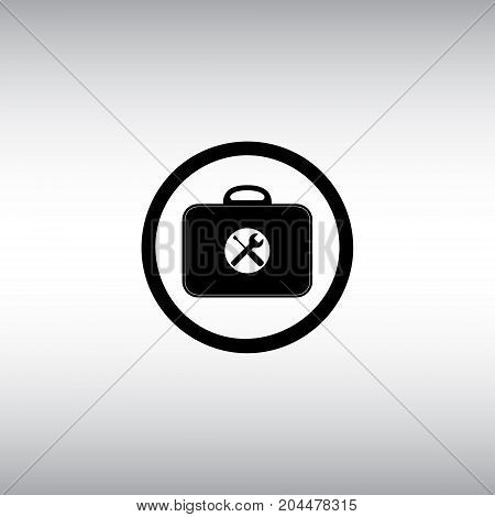 Toolbox flat vector sign. Isolated toolkit vector icon. Settings menu round button.