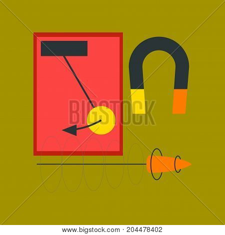 flat icon on stylish background school Physics lesson magnet