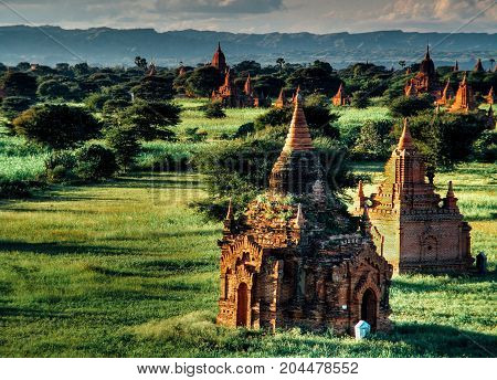 Myanmar, Bagan - Aerial View On Temples With Sunset Nb.4