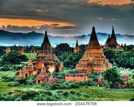 Myanmar, Bagan - Sunset Aerial View Nb.