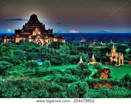 Myanmar, Bagan - Sunset Aerial View On Dhammayangyi Temple Nb.1