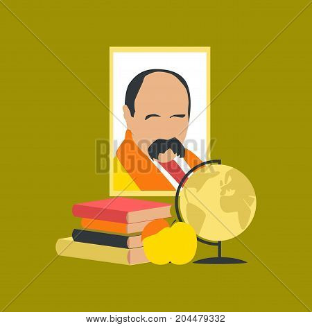 flat icon on stylish background school Ukrainian literature lesson