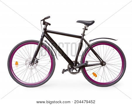 Black Fixed Urban Bike With Violet Whells Isolated With Clipping Path