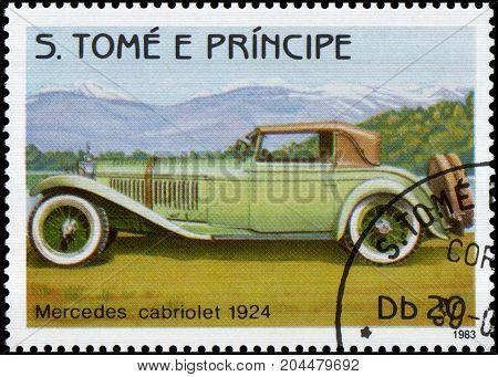 S.TOME E PRINCIPE - CIRCA 1983: Stamp printed in S.Tome e Principe shows image of the retro car Mercedes cabriolet 1924 year of release