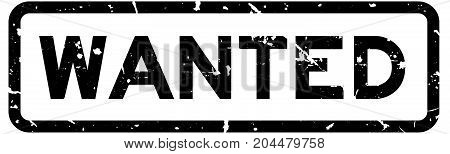 Grunge black wanted wording square rubber seal stamp on white background