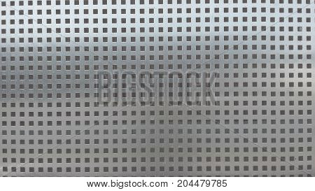 Perforated metal texture. Shiny metal background with occasional small square holes. Modern industrial wide horizontal Wallpaper