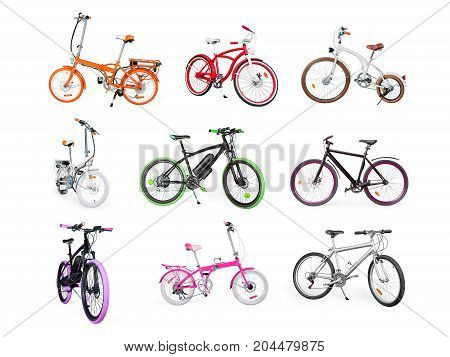Set Of Electric, Urban, Cruiser, Mtb And Folding Bikes Isolated On White
